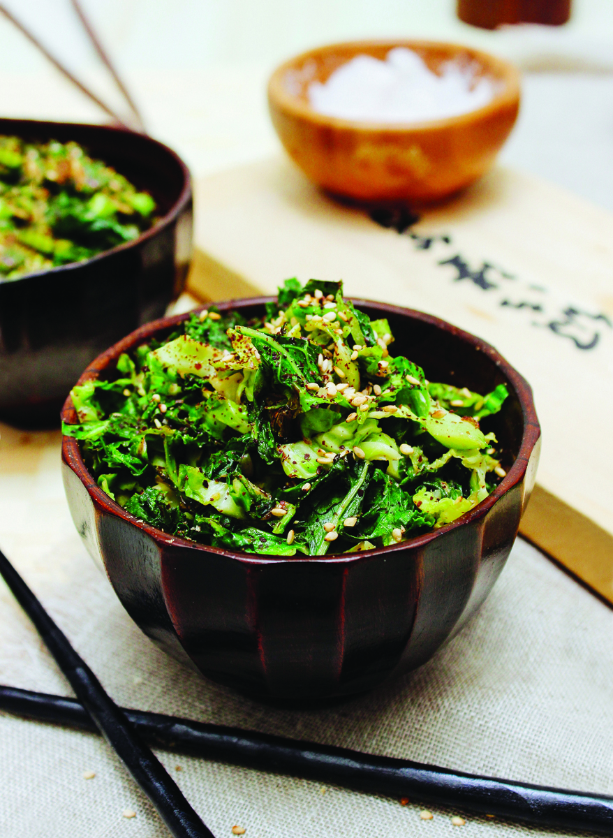 Shredded Brussels Sprouts & Kale with Miso Dijon Sauce