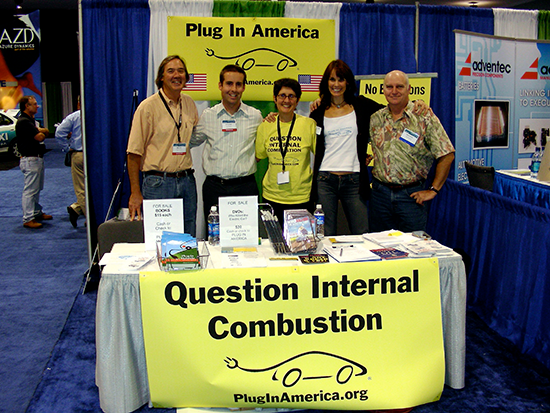 Alexandra helps at a Plug In America booth to promote electric cars, 2007.